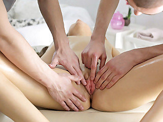 Pigtailed girl Magda receives a nice fuck from two massage therapists